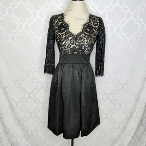 Eliza J Black Lace Fit Flare Dress Pleated Skirt